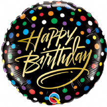 "Birthday Gold Script Foil Balloon (9"" Air-Fill) 1pc"